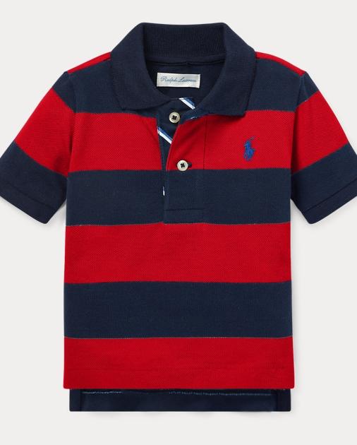 da3c2a50 Baby Boy Striped Cotton Mesh Polo Shirt 1