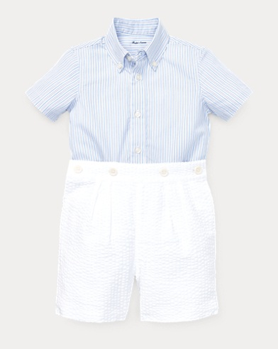 Shirt & Seersucker Shorts Set