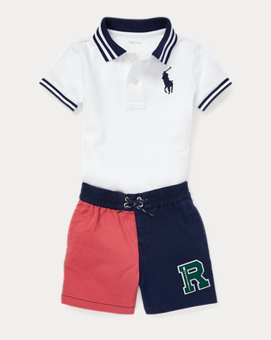 Set polo in piqué e short in twill