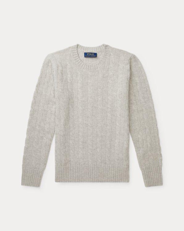 폴로 랄프로렌 보이즈 꽈배기 스웨터 Polo Ralph Lauren Cable-Knit Cashmere Sweater,Light Grey Heather