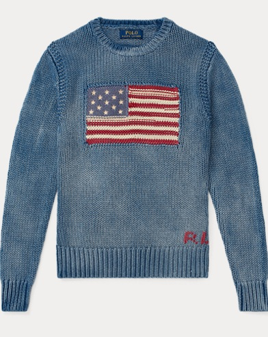Flag Indigo Cotton Jumper