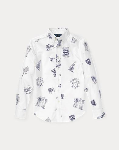 Icon-Print Cotton Oxford Shirt
