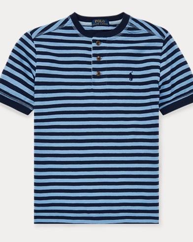 Camiseta Henley de punto de algodón a rayas
