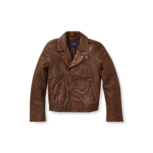 폴로 랄프로렌 보이즈 자켓 Polo Ralph Lauren Leather Moto Jacket,Brown