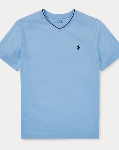 Maglietta a V in misto cotone