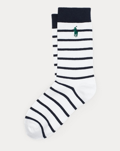 Striped Cotton-Blend Crew Sock