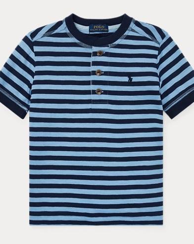 Camiseta Henley de punto jersey a rayas