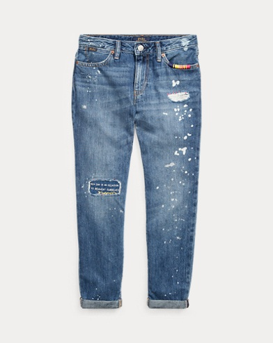 Slim Boyfriend-Jeans in Used-Optik