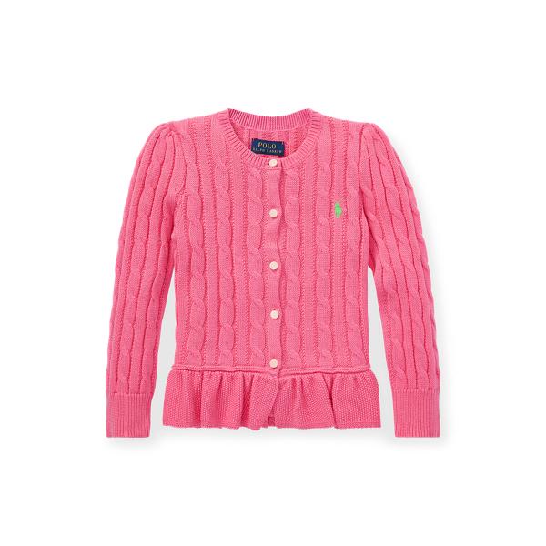 폴로 랄프로렌 Polo Ralph Lauren Cable Peplum Cotton Cardigan,Baja Pink