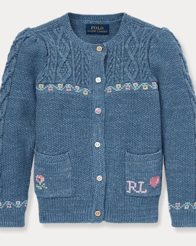 Intarsia Cotton-Wool Cardigan