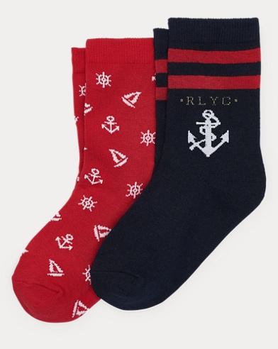Nautical Crew Sock 2-Pack