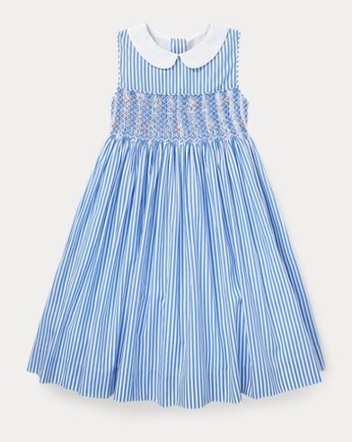 Smocked Bengal-Stripe Dress