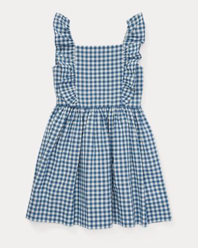 Ruffled Gingham Cotton Dress
