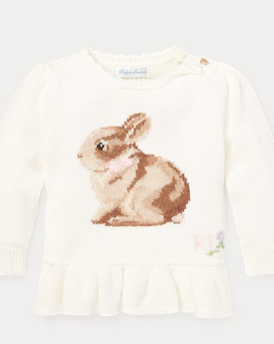 Intarsia-Knit Bunny Sweater