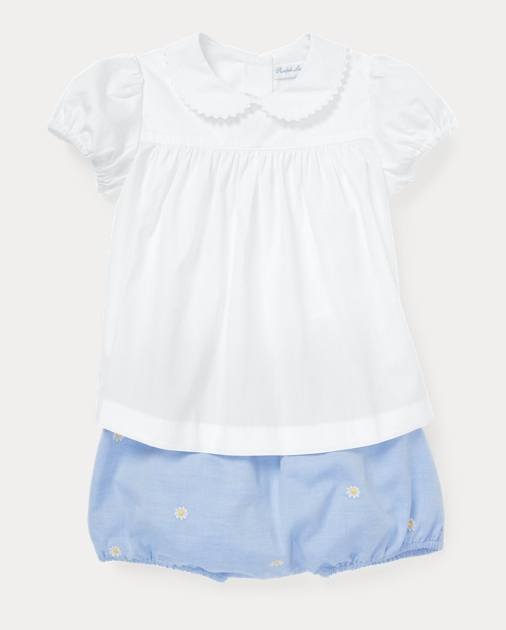 9632e3979 Baby Girl Cotton Shirt & Bloomer Set 1