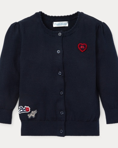Chenille-Patch Cotton Cardigan