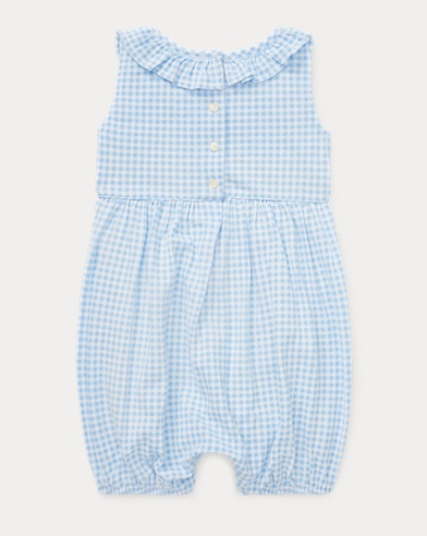 be9086e2f217d Take 30% Off. Baby Girl. Ruffled Gingham Cotton Romper