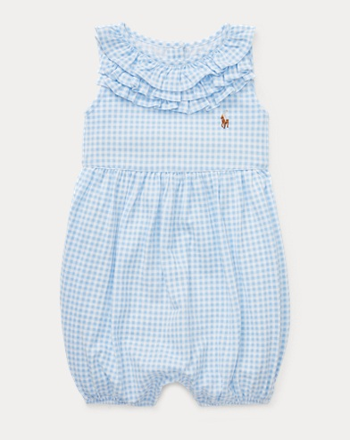 Ruffled Gingham Cotton Romper