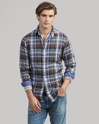 Slim Fit Indigo Plaid Shirt