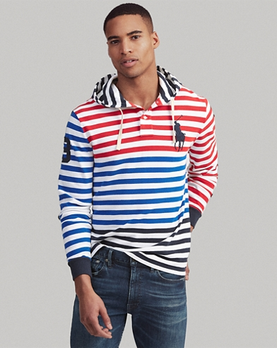 Striped Cotton Mesh Hooded Tee