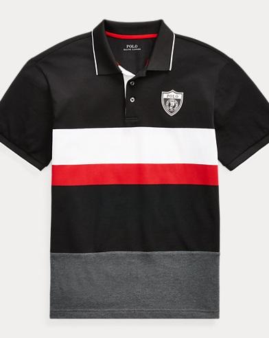 Striped Mesh Polo Shirt