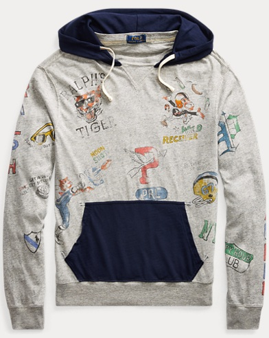 Cotton Jersey Graphic Hoodie
