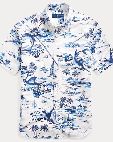 Classic Fit Marlin-Print Shirt