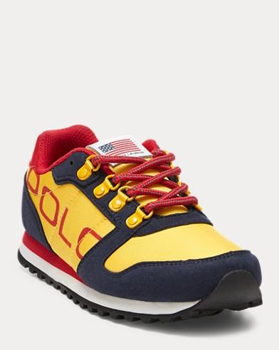 Polo Ralph Lauren Little Boy/'s Rowenn Navy//Orange Sneakers Shoes