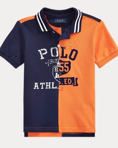 Cotton Mesh Graphic Polo Shirt