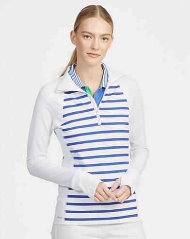 Striped Golf Half-Zip Pullover