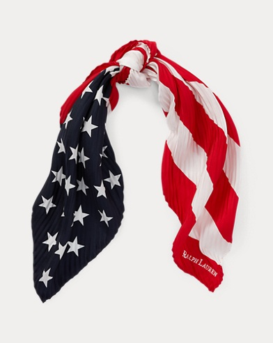 Pleated Flag Silk Bandana