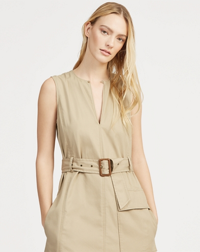 Chino Belted Sleeveless Dress