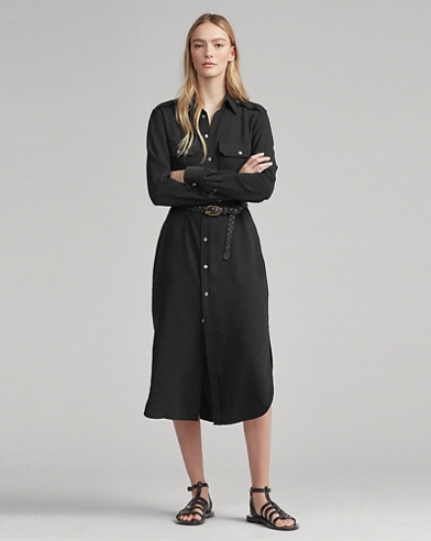 Belted Crepe Shirtdress
