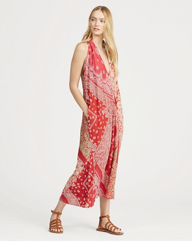Bandanna-Print Halter Dress