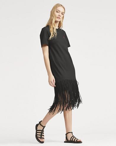 Fringe Cotton Shirtdress