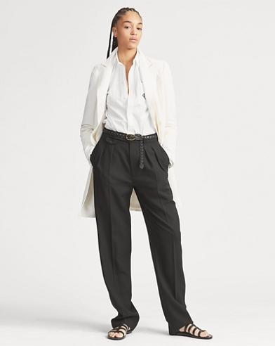 Tuxedo-Stripe Wool Trouser