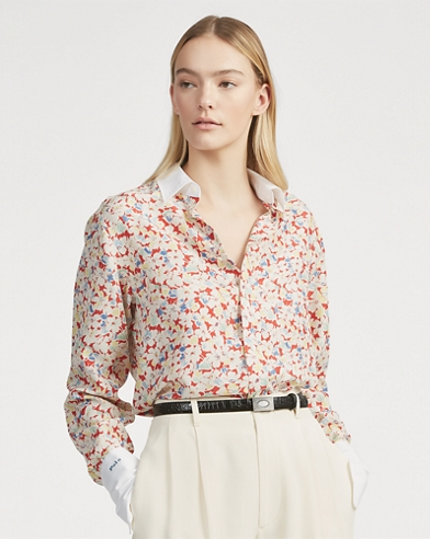 Floral Silk Button-Down Shirt
