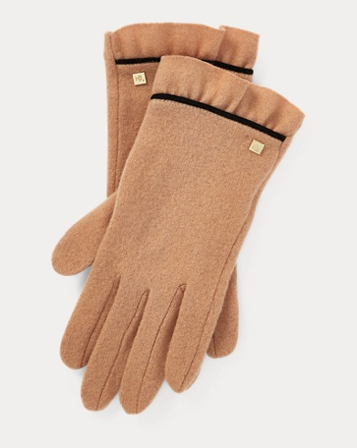 Ruffle-Cuff Wool Tech Gloves