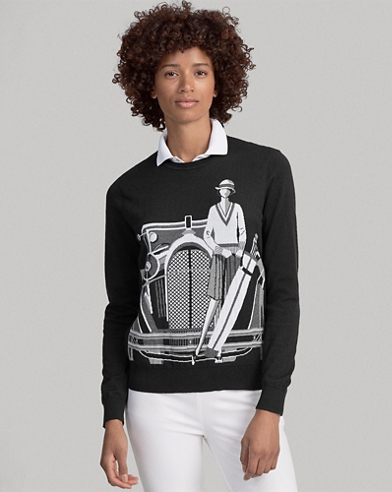 Print Cotton Golf Sweater