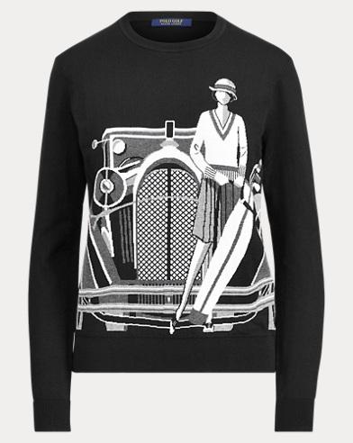 Print Cotton Golf Sweater