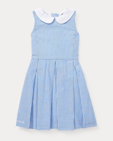Seersucker Fit-and-Flare Dress