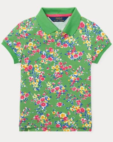 Floral Stretch-Mesh Polo Shirt