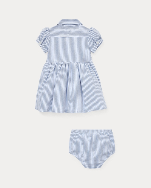 Baby Girl Striped Knit Oxford Dress 2