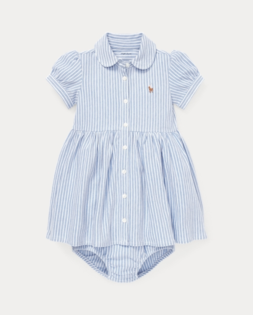 Baby Girl Striped Knit Oxford Dress 1