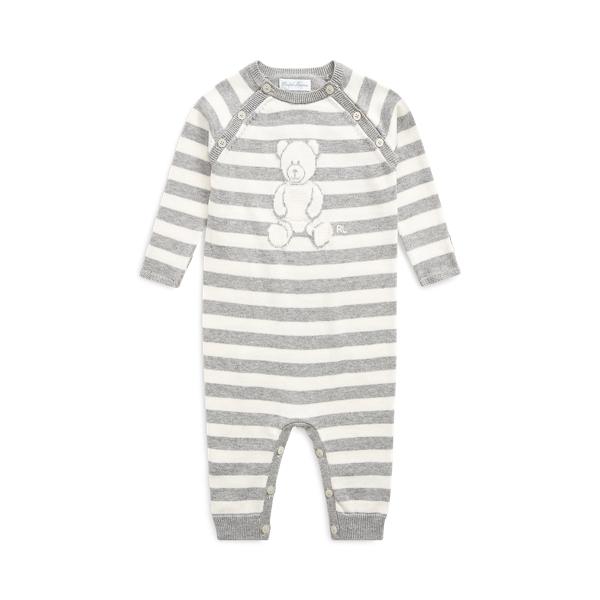 폴로 랄프로렌 Polo Ralph Lauren Striped Bear Organic Cotton Coverall,Grey/Cream