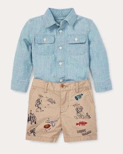 Chambray Shirt & Short Set
