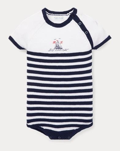 Striped Knit Cotton Bodysuit