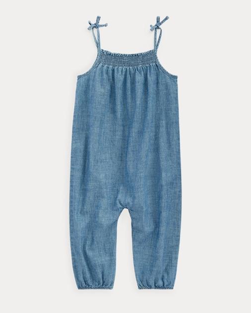 34e51ff0e252 Baby Girl Indigo Cotton Chambray Romper 1