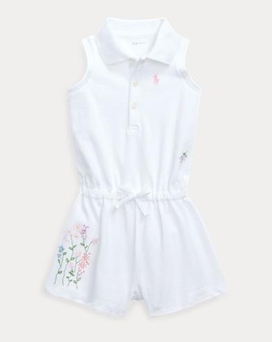 Floral Cotton Mesh Polo Romper
