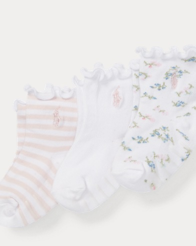 Scalloped-Cuff Sock 3-Pack